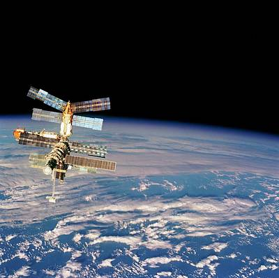 Mir Space Station From Space Shuttle Print by Nasa