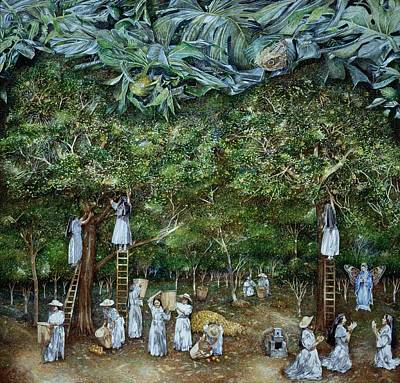 Miraculous Vision Of The Virgin In The Orange Orchard, 1996 Oil On Canvas Print by James Reeve