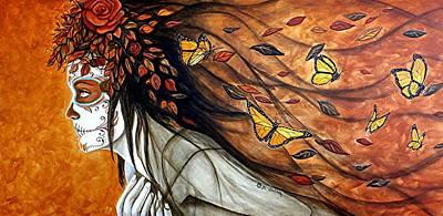Painted Face Painting - Mis Recuerdos Son Como Hojas En El Viento by Al  Molina