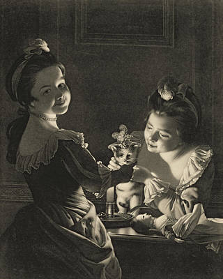 Doll Photograph - Miss Kitty Dressing, 1781 Mezzotint by Joseph Wright of Derby