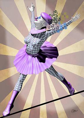Showgirls Digital Art - Miss Pierrette Tightrope by Quim Abella