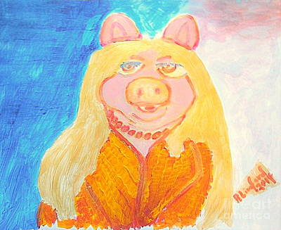 Saturday Night Live Painting - Miss Piggy Perfect 10 by Richard W Linford