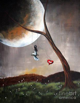 Original Surreal Artwork Girl On Swing Print by Shawna Erback