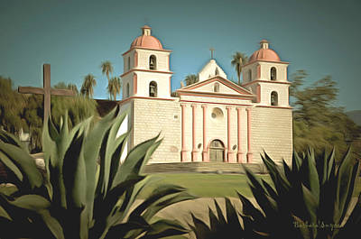 Religious Art Painting - Wanta Barbara Mission by Barbara Snyder