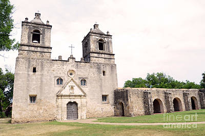 Mission Concepcion Facade In San Antonio Missions National Historical Park Texas Print by Shawn O'Brien