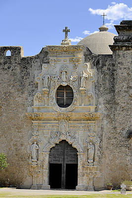 Mother Mary Photograph - Mission San Jose - San Antonio Tx by Christine Till