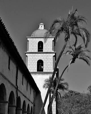 Mountain Photograph - Mission Santa Barbara Bell Tower by David Lobos