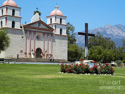 Tourist Attraction Digital Art - Mission Santa Barbara by Methune Hively