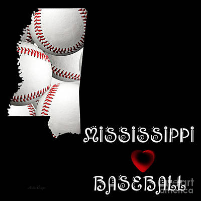 Mississippi State Map Digital Art - Mississippi Loves Baseball by Andee Design