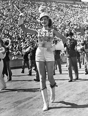 Marching Band Photograph - Mississippi Majorette Struts by Underwood Archives