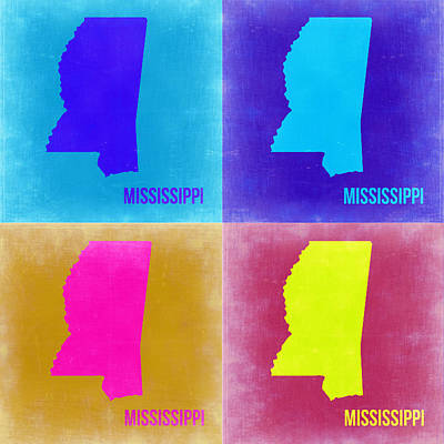 Mississippi Pop Art Map 2 Print by Naxart Studio