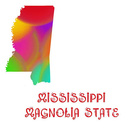 Mississippi State Map Digital Art - Mississippi State Map Collection 2 by Andee Design