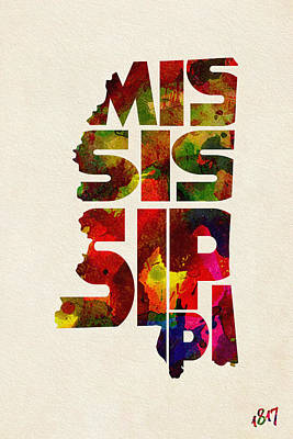 Mississippi State Map Digital Art - Mississippi Typographic Watercolor Map by Ayse Deniz