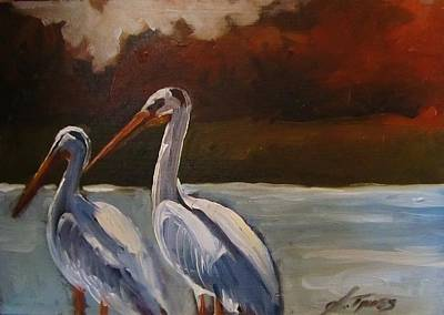 Missouri River Pelicans Print by Suzanne Tynes