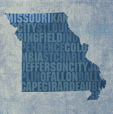 Mixed Media - Missouri Word Art State Map On Canvas by Design Turnpike
