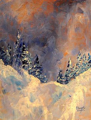 Mist On The Snow Peak Print by Patricia Brintle