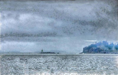 Mist Rolling In At Owl's Head Light Print by Jeff Folger