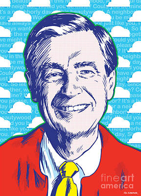 Neighborhood Drawing - Mister Rogers Pop Art by Jim Zahniser