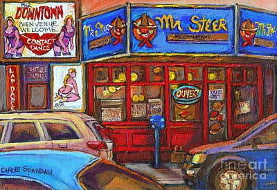 Steer Painting - Mister Steer  Restaurant by Carole Spandau