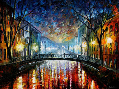 Misty Bridge - Palette Knife Oil Painting On Canvas By Leonid Afremov Original by Leonid Afremov
