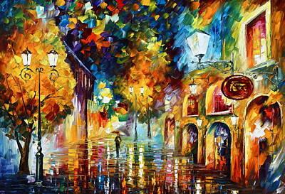 Misty City Mood New Original by Leonid Afremov