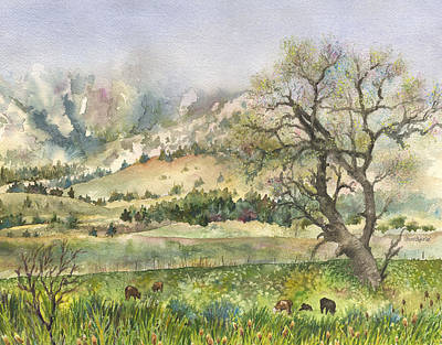 Cloudy Day Painting - Misty Flatirons by Anne Gifford