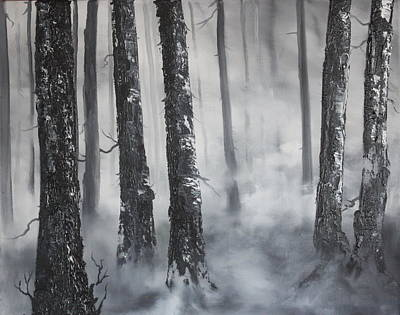 Triassic Painting - Misty Forest by Jean Walker