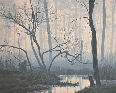 Misty Hideaway -  Wood Duck Print by Peter Mathios