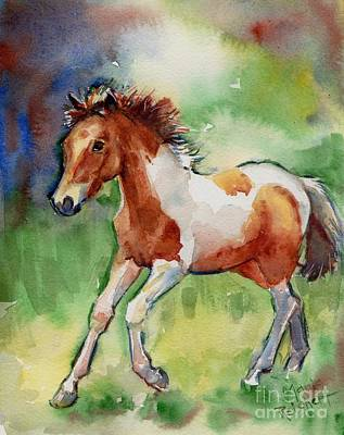 Wild Horse Painting - Horse Painting Of A Paint Foal Misty by Maria's Watercolor