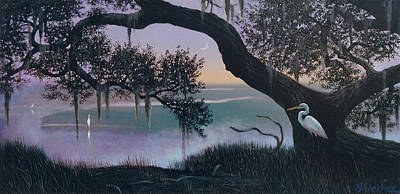 Misty Morning At Seabrook Print by Blue Sky