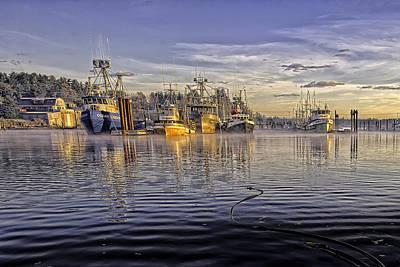 Misty Morning At The Docks Print by Evan Spellman