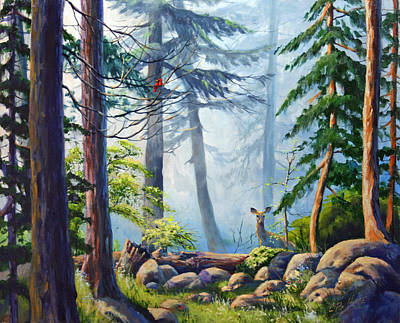 Smokey Mountains Painting - Misty Morning by CB Hume
