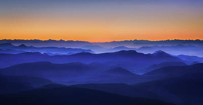 Misty Mountains Print by David Bouscarle