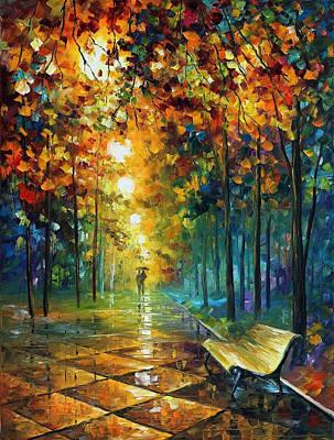 Misty Park - Palette Knife Oil Painting On Canvas By Leonid Afremov Original by Leonid Afremov