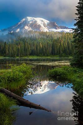 Mt Rainier National Park Photograph - Misty Rainier Dawn by Inge Johnsson