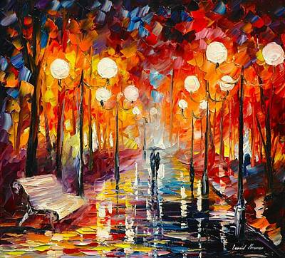 Oil Landscape Painting - Misty   Reflections by Leonid Afremov
