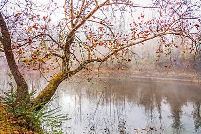 Misty River Print by Debra and Dave Vanderlaan