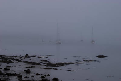 Misty Sails Upon The Water Print by Jeff Folger