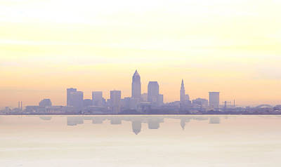 Misty Sunrise In Cleveland Print by Kitty Ellis