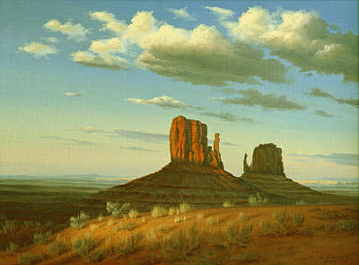 Navajo Painting - Mitten Buttes by Paul Krapf