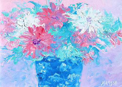 Interior Still Life Painting - Mixed Chrysanthemums In Blue Vase by Jan Matson