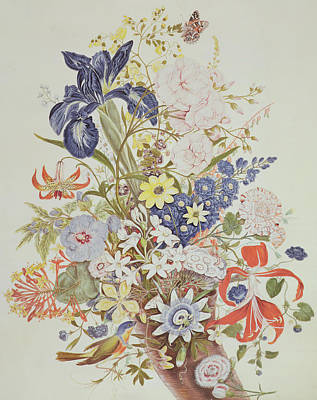 Anemones Painting - Mixed Flowers In A Cornucopia by Thomas Robins