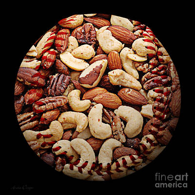 Mixed Nuts Baseball Square Print by Andee Design