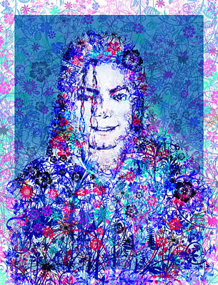 Jackson 5 Painting - Mj Floral Version 2 by Bekim Art