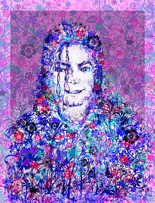 Mj Floral Version Print by Bekim Art