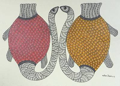 Gond Art Gallery Painting - Mkt 143 by Manoj Kumar Tekam