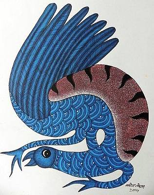 Gond Tribal Art Painting - Mkt 147 by Manoj Kumar Tekam