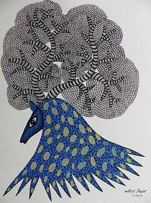 Gond Tribal Art Painting - Mkt 150 by Manoj Kumar Tekam