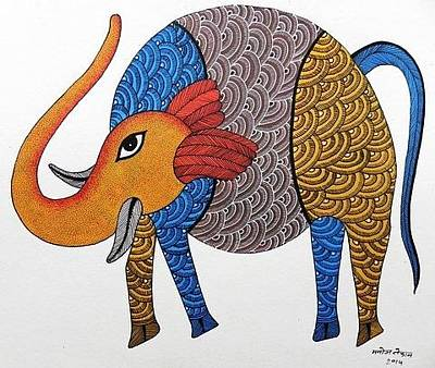 Gond Tribal Art Painting - Mkt 151 by Manoj Kumar Tekam