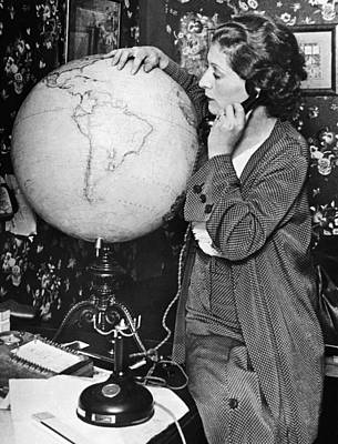 Mme. Costes With Globe Print by Underwood Archives